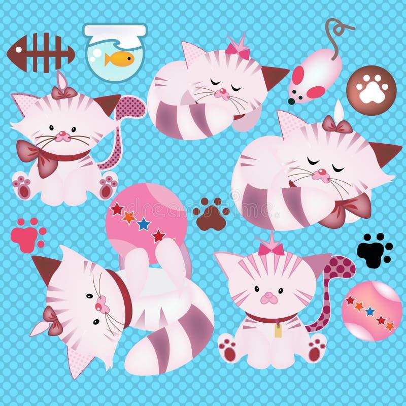 O gato bonito do animal de estimação do gatinho um peixe rola e brinquedos ilustração do vetor