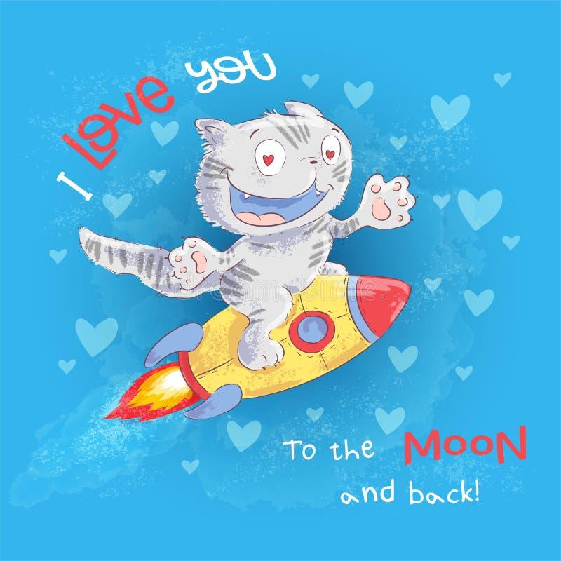 O gato bonito do cartaz voa em um foguete Desenho da m?o ilustração do vetor
