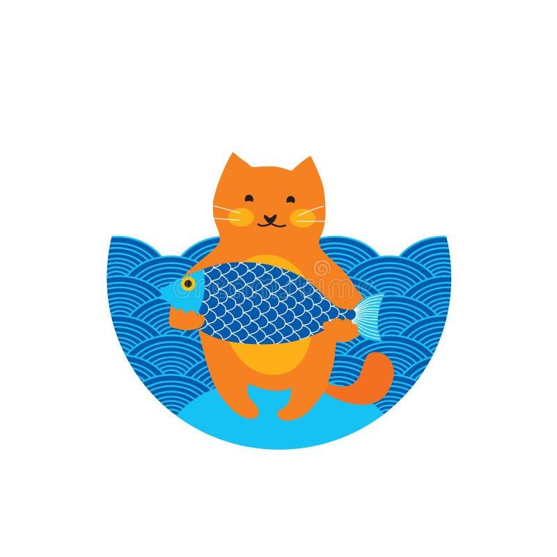 O gato bonito do vermelho alaranjado, fisher com peixes grandes, mar azul, desenhos animados do caráter da vaquinha isolou a ilus ilustração do vetor