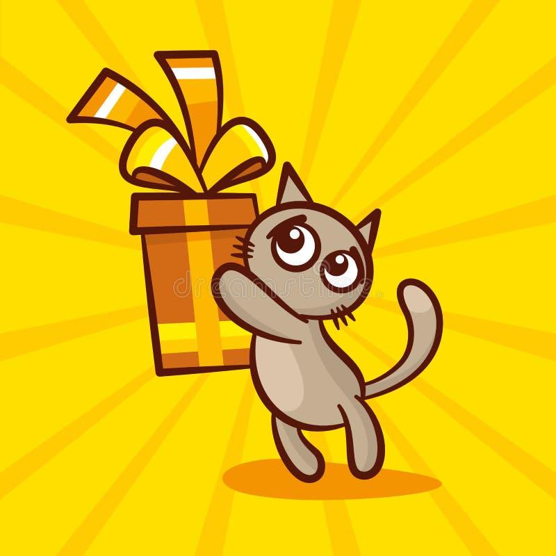 O gato bonito dos desenhos animados dá o presente ilustração stock