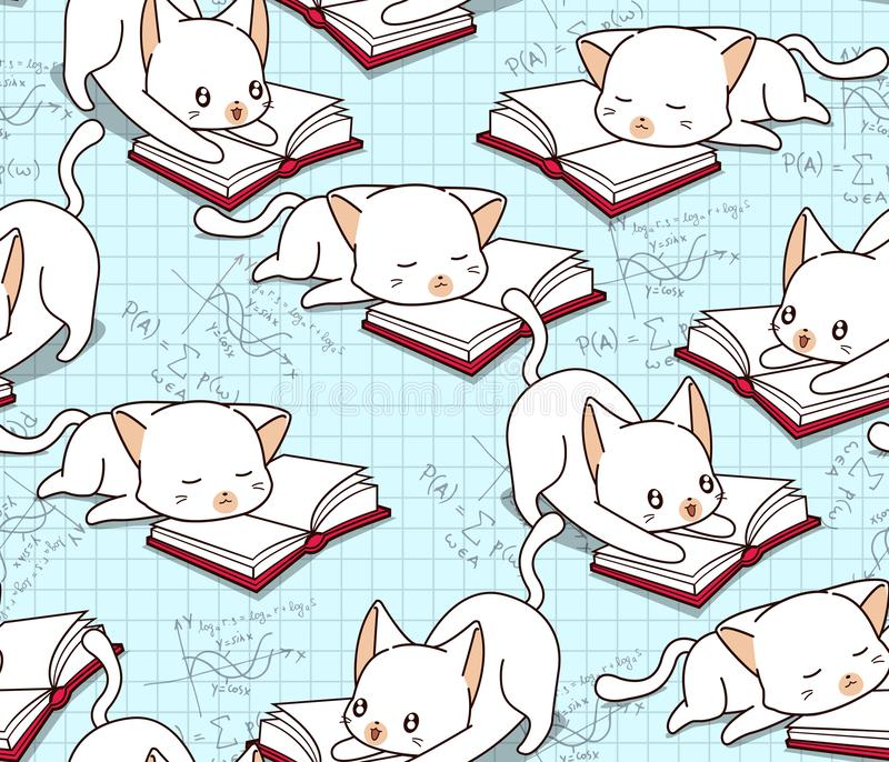 O gato bonito sem emenda está lendo um teste padrão do livro ilustração royalty free