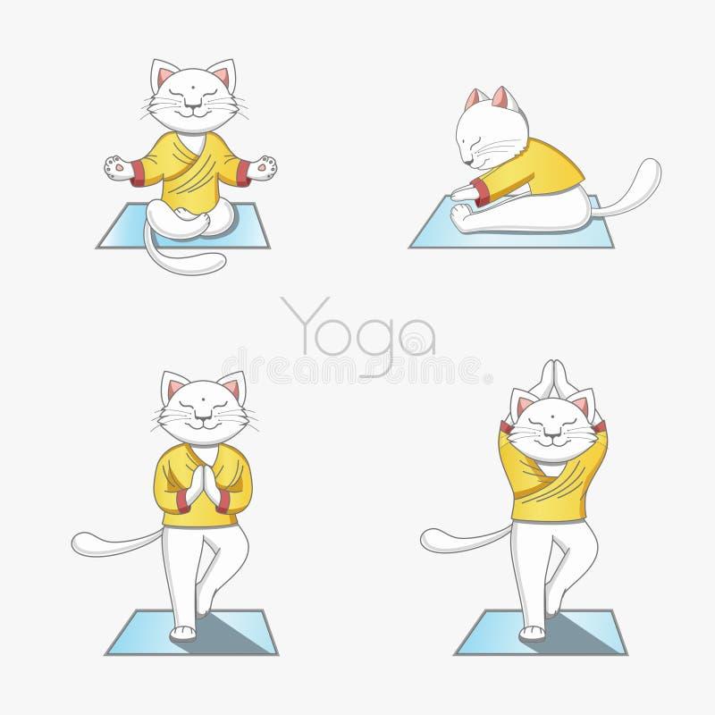O gato branco pratica a ioga em um tapete em várias posições ilustração stock
