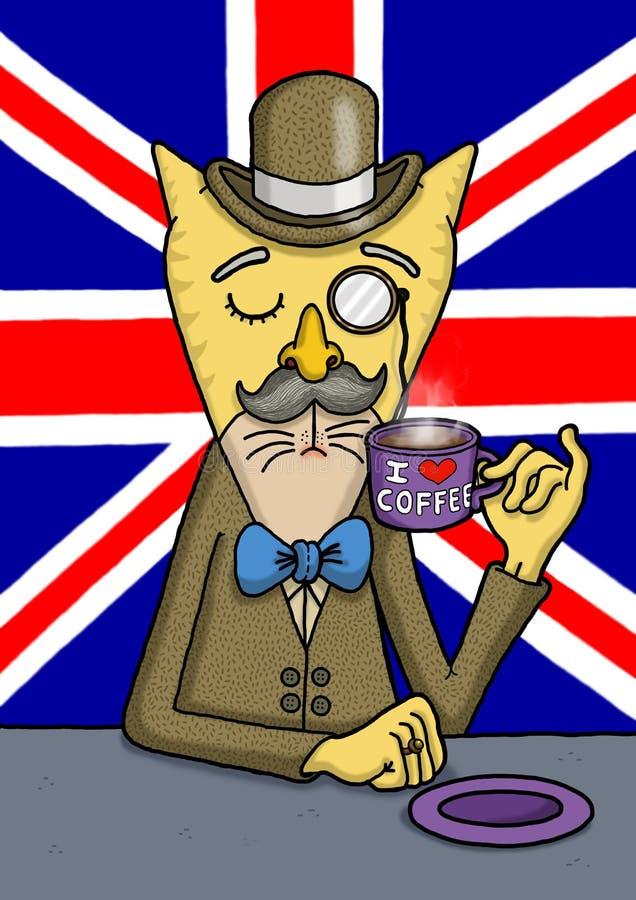 O gato britânico dos cavalheiros está apreciando seu café fotografia de stock royalty free
