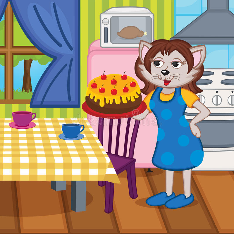 O gato da mãe cozeu um bolo na cozinha ilustração stock