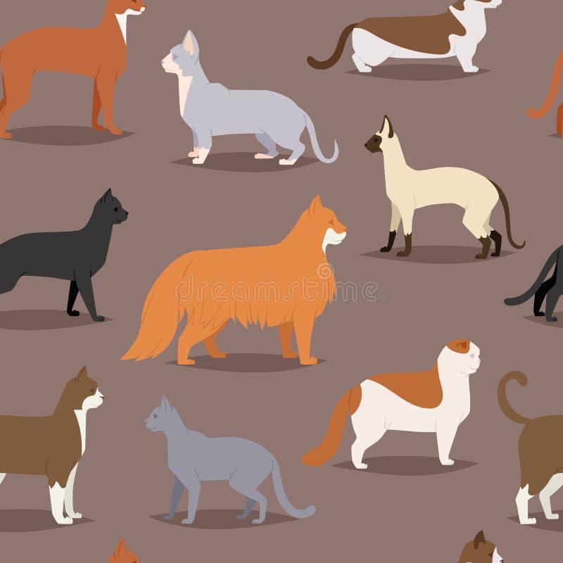 O gato diferente produz o teste padrão sem emenda do jogo de caracteres animal bonito bonito dos desenhos animados do animal de e ilustração royalty free