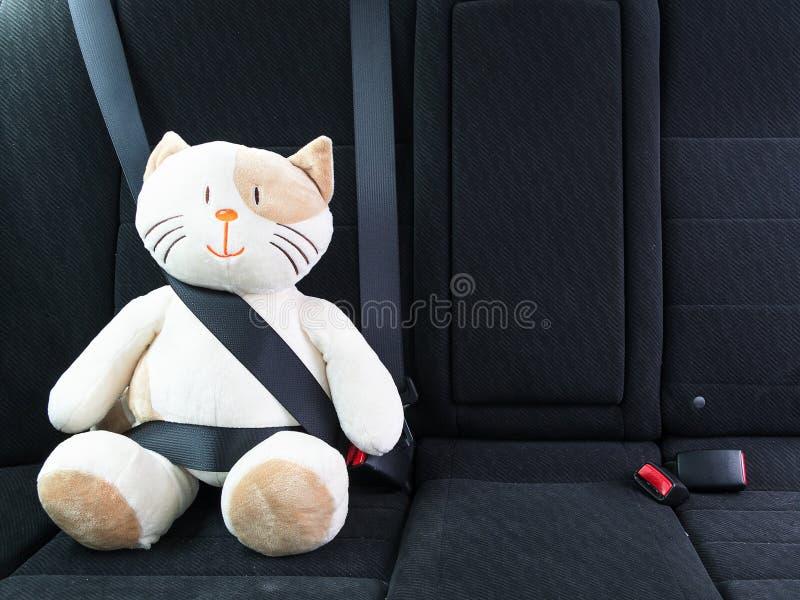 O gato do brinquedo do luxuoso prendeu com o seatbelt no banco traseiro de um carro, segurança na estrada Conceito da proteção foto de stock