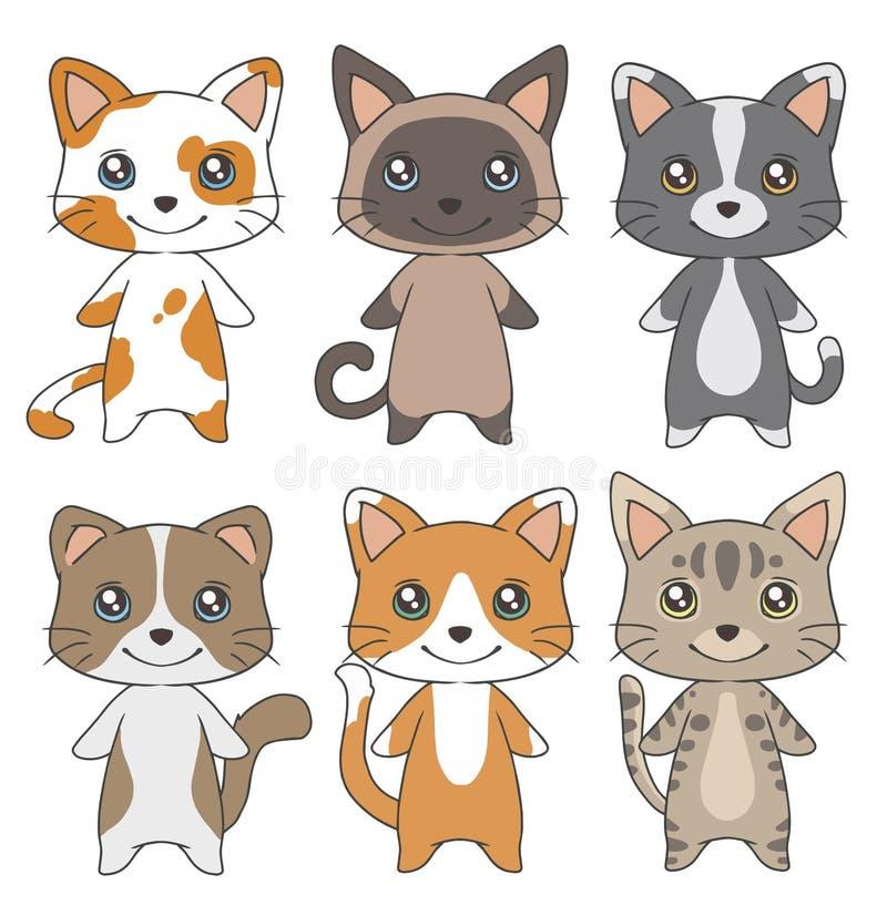 O gato doméstico do estilo bonito dos desenhos animados produz a coleção da ilustração do vetor dos desenhos ilustração do vetor