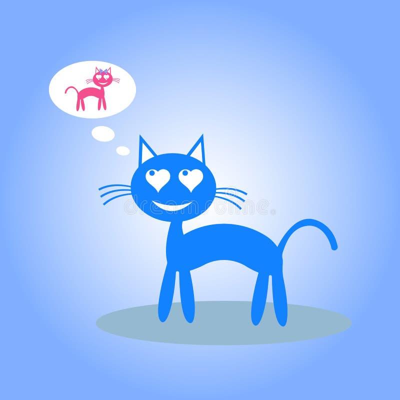 O gato dos desenhos animados pensa sobre o amor Ilustra??o do vetor ilustração royalty free