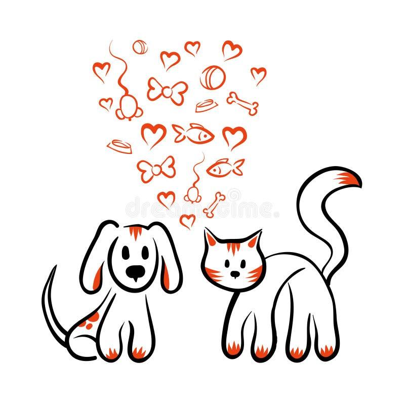 O gato e o cão amam - vector a mão tirada ilustração stock