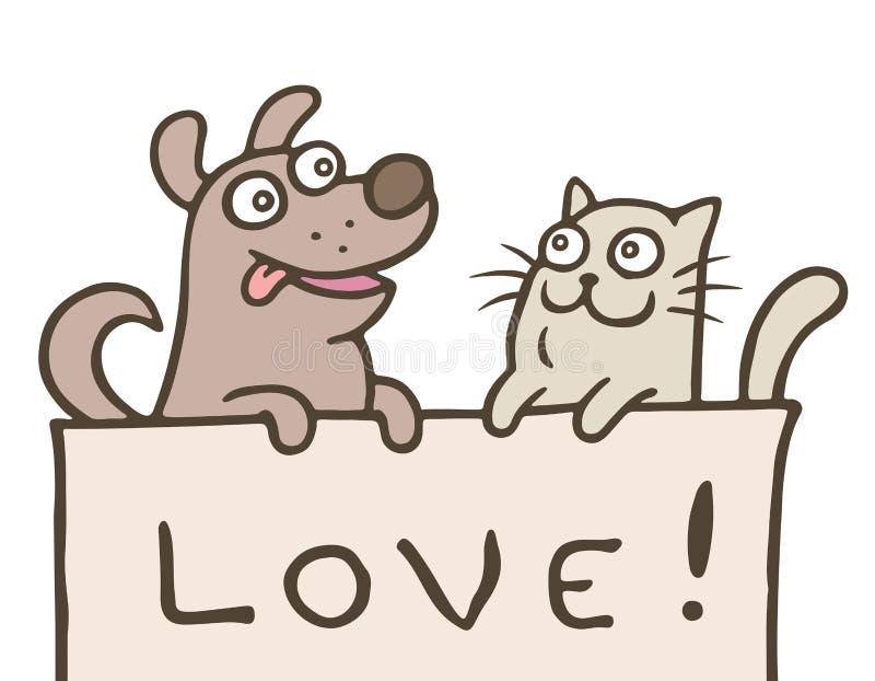 O gato engraçado com um cão é mostrado com o amor da inscrição Ilustração do vetor ilustração do vetor