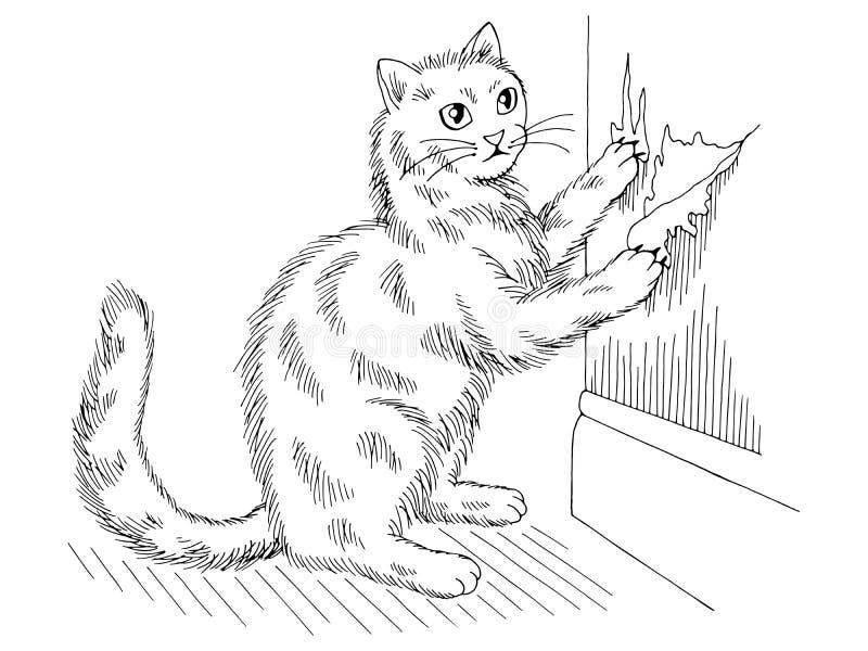O gato está apontando as garras que rasgam o vetor branco preto gráfico da ilustração do esboço do papel de parede ilustração do vetor