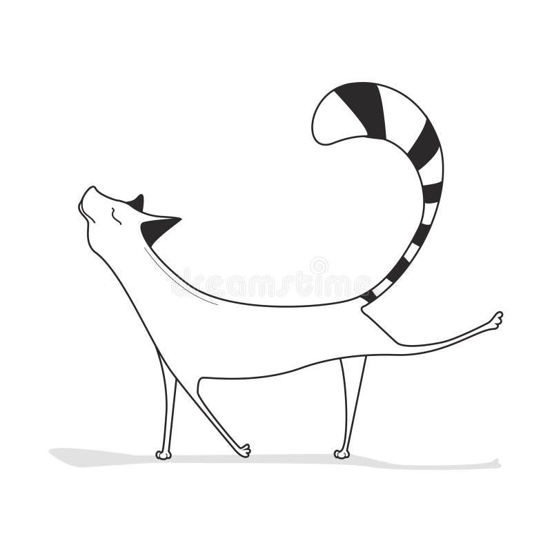 O gato está fazendo exercícios Ilustração preto e branco em um fundo branco esboço ilustração royalty free