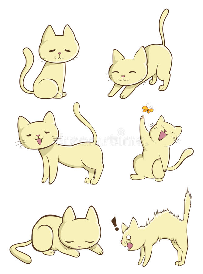 Gato fêmea bonito na ação ilustração royalty free