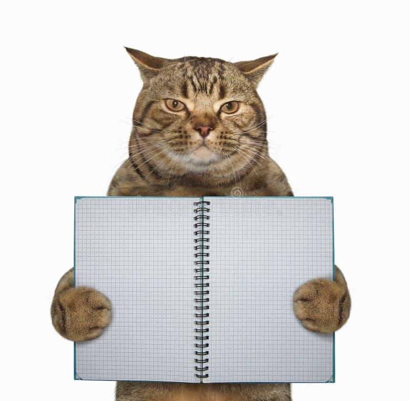 O gato guarda um caderno desdobrado imagem de stock royalty free