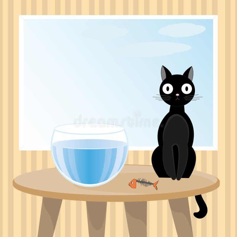 O gato impertinente comeu peixes ilustração royalty free