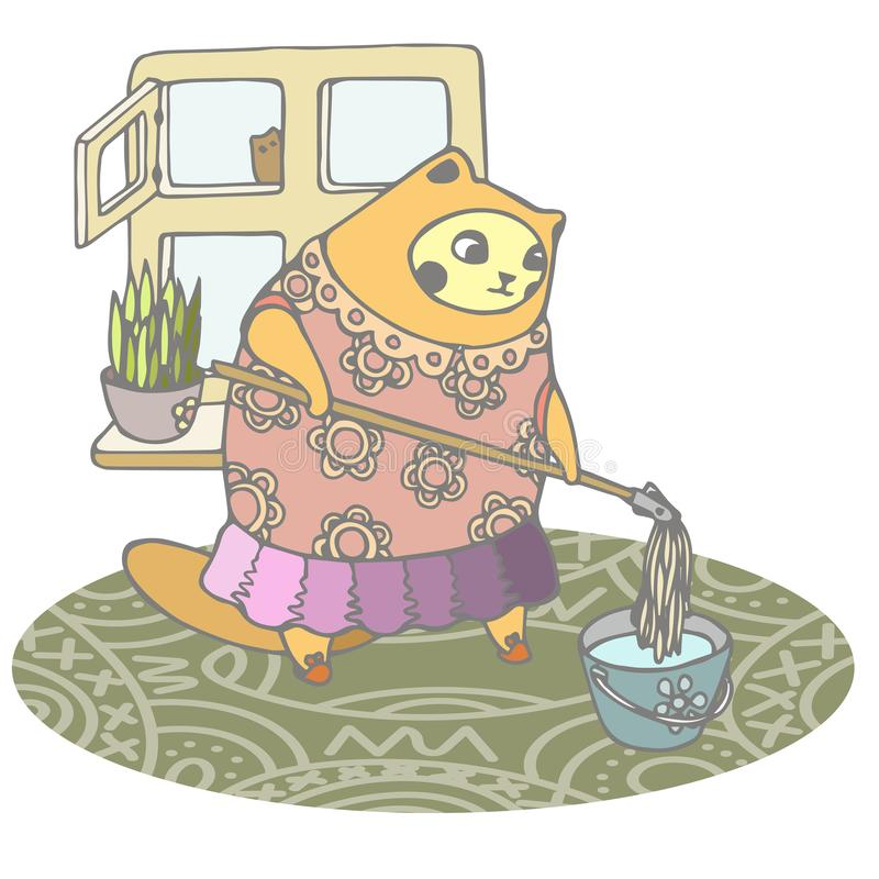 O gato inchado é contratado na limpeza da primavera a casa ilustração do vetor