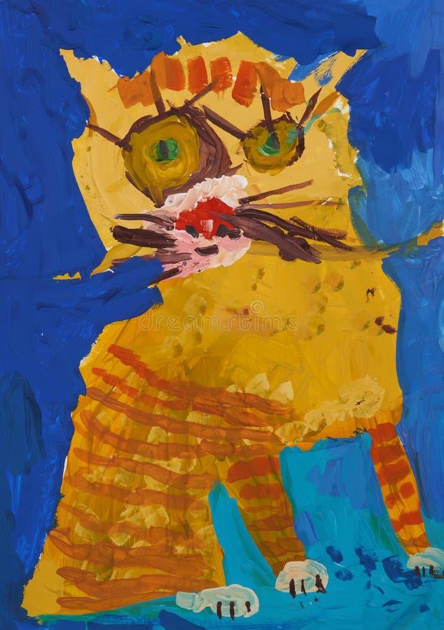 O gato listrado vermelho engraçado como uma criança vê-o ilustração royalty free
