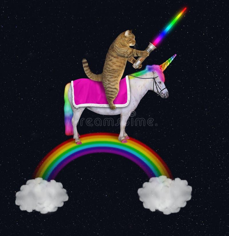 O gato monta um unicórnio no arco-íris 2 foto de stock royalty free