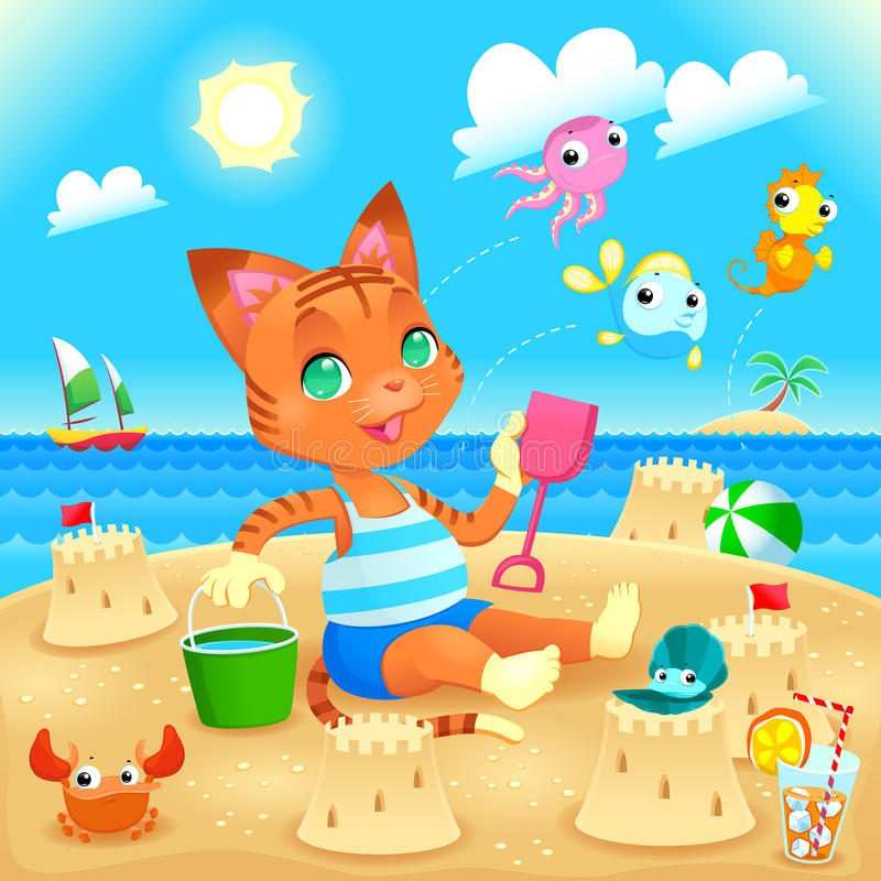 O gato novo faz castelos na praia ilustração royalty free