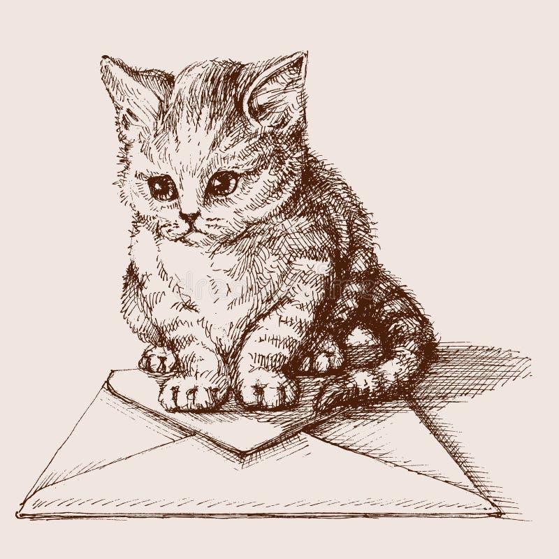 O gato pequeno esboçou o retrato ilustração do vetor