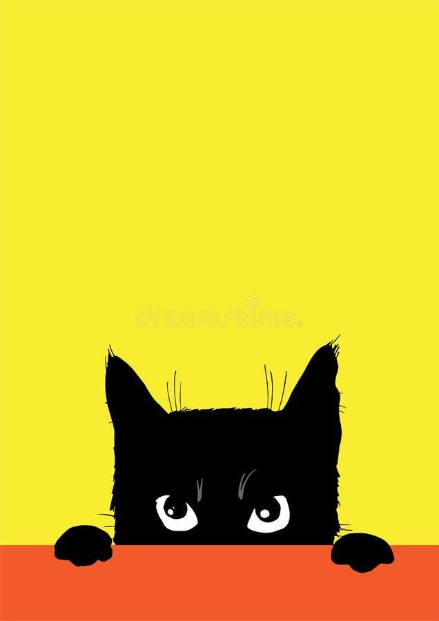 O gato preto irritado ilustração do vetor
