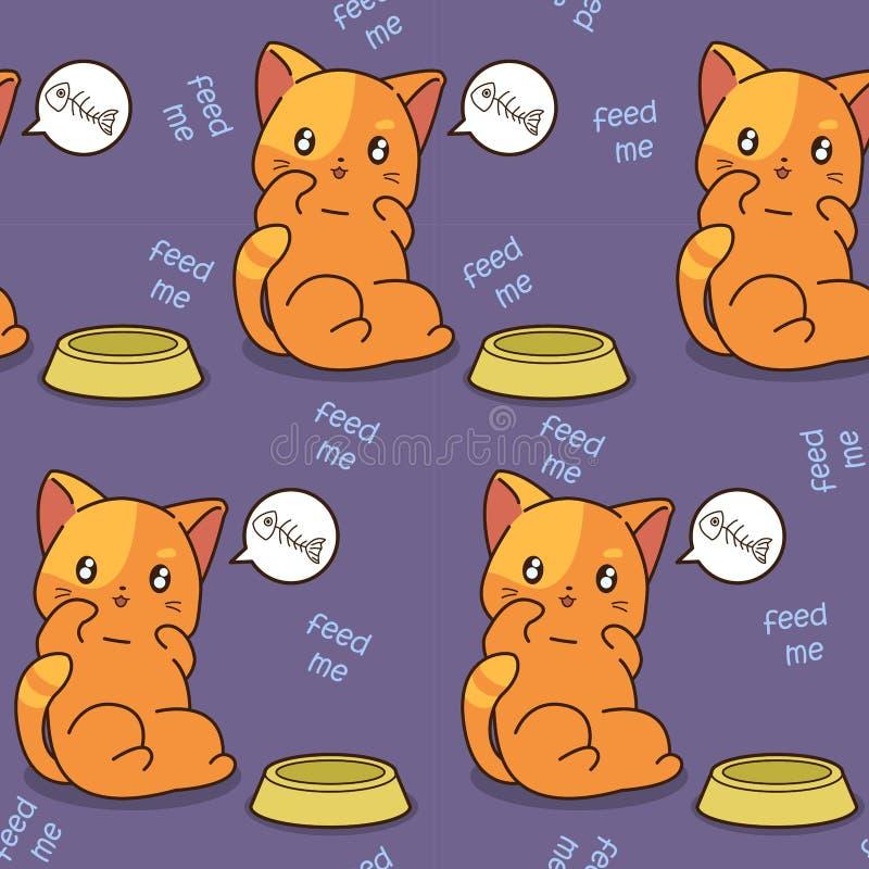 O gato sem emenda é teste padrão com fome ilustração do vetor