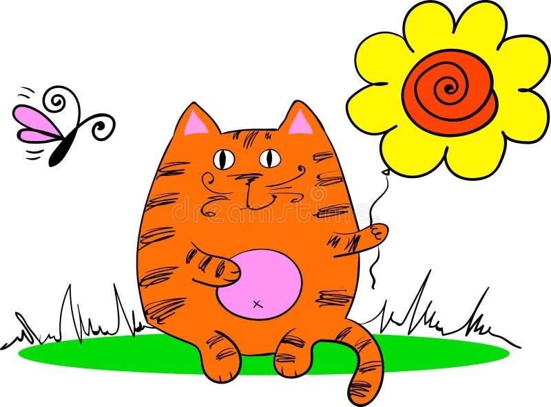 O gato senta-se na grama ilustração stock