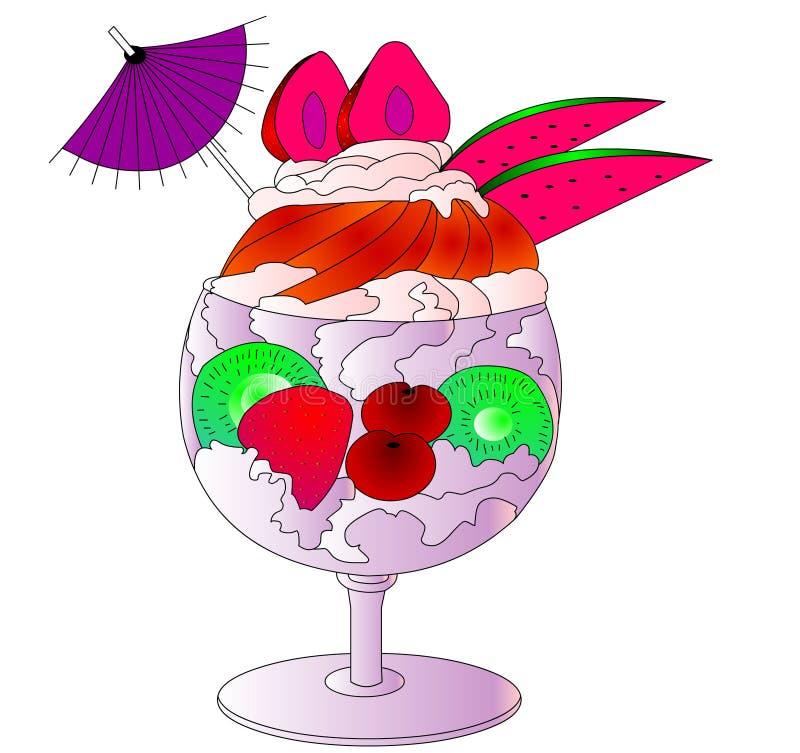 O gelado, as frutas e o creme no cálice ilustração do vetor