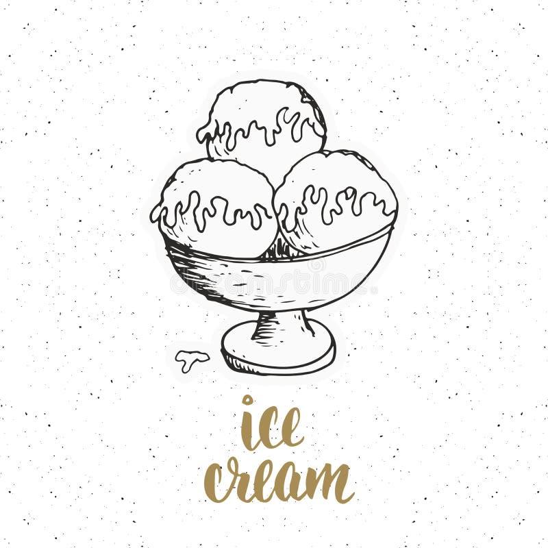 O gelado com esboço da rotulação, etiqueta do vintage, grunge tirado mão textured o crachá, molde retro do logotipo, vetor IL do  ilustração stock
