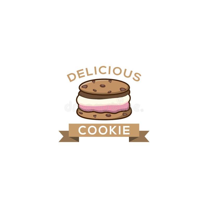 O gelado da cookie imprensa o logotipo O crachá do gelado, etiqueta, logotipo, ícones projeta moldes da ilustração do vetor Choco ilustração do vetor