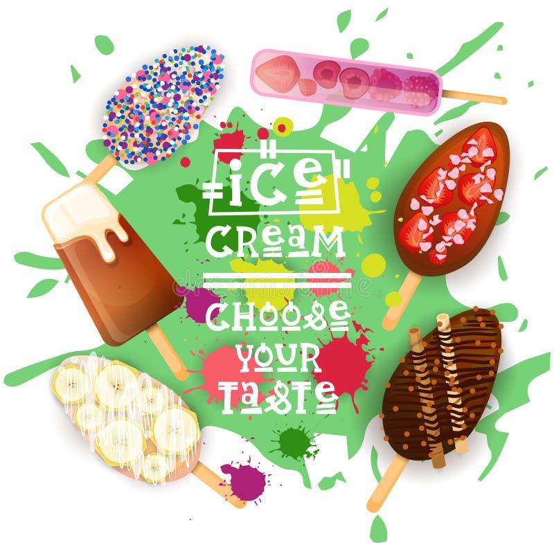 O gelado Lolly Set Colorful Desserts Collection escolhe seu cartaz do café do gosto ilustração do vetor