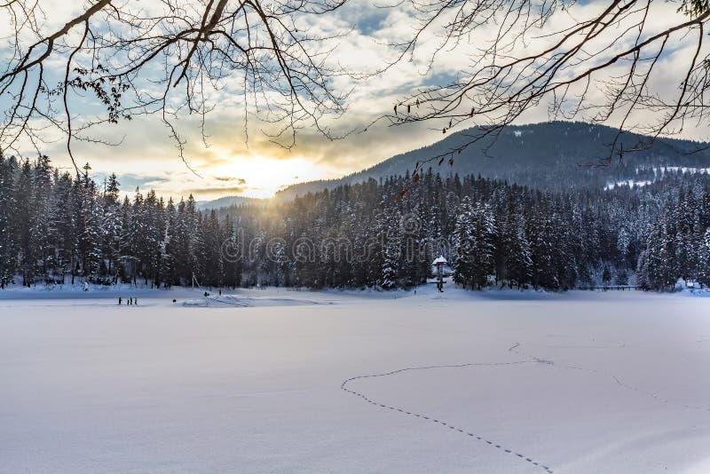 O gelo cobriu o lago Synevyr no inverno, lugar lindo em montanhas Carpathian imagens de stock royalty free