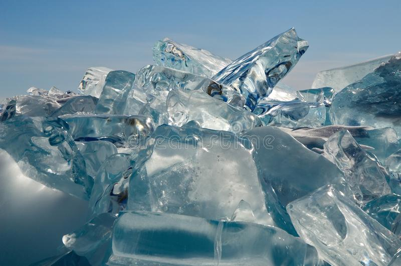 O gelo original o Lago Baikal foto de stock