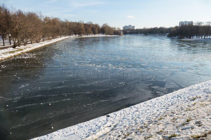 O gelo rachado na lagoa em novembro foto de stock