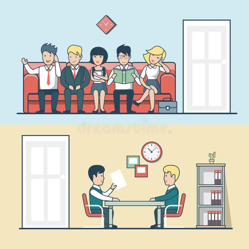 O gerente liso linear da hora fala com homem, candidato ilustração royalty free