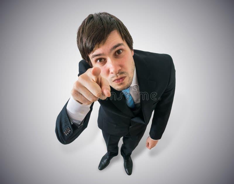 O gerente novo está apontando em você Vista da parte superior imagens de stock