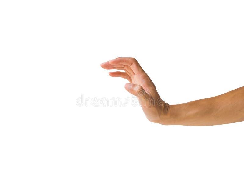 O gesto de mão do homem isolou mostrar o gesto da parada ou os dedos o da garra foto de stock