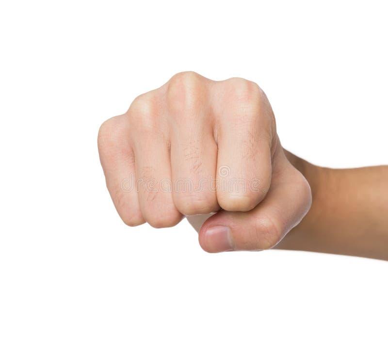 O gesto de mão, homem apertou o punho, apronta-se para perfurar foto de stock royalty free