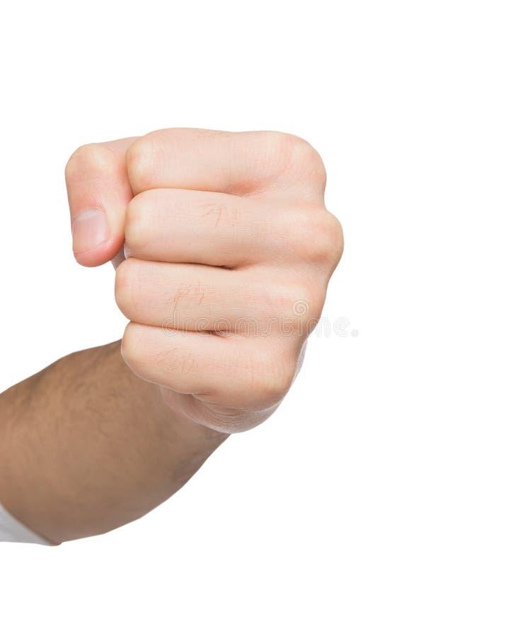 O gesto de mão, homem apertou o punho, apronta-se para perfurar foto de stock