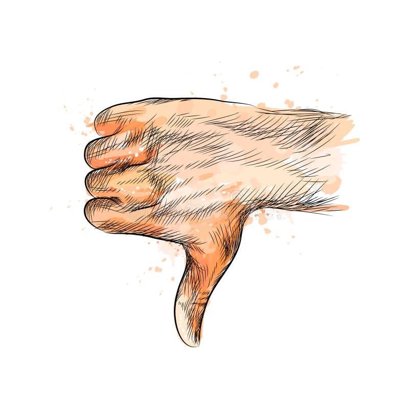 O gesto de mão, polegares entrega para baixo ilustração do vetor