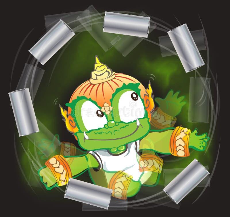 O gigante tailandês que joga o refresco ventilado enlata o actínio dos desenhos animados ilustração stock
