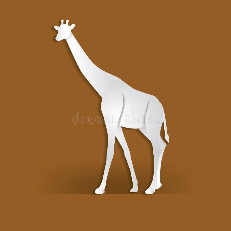 O girafa no papel na moda cortou o estilo do gráfico do ofício Projeto moderno para anunciar, cartão de marcagem com ferro quente ilustração royalty free