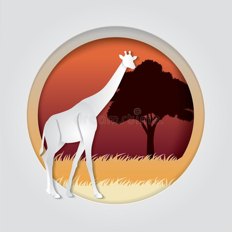 O girafa no papel na moda cortou o estilo do gráfico do ofício Projeto moderno para anunciar, cartão de marcagem com ferro quente ilustração do vetor
