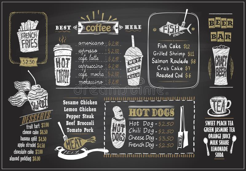 O giz em projetos de um menu do quadro-negro ajustou - sobremesas menu, menu dos peixes, chá, café, cachorros quentes, barra da c ilustração do vetor