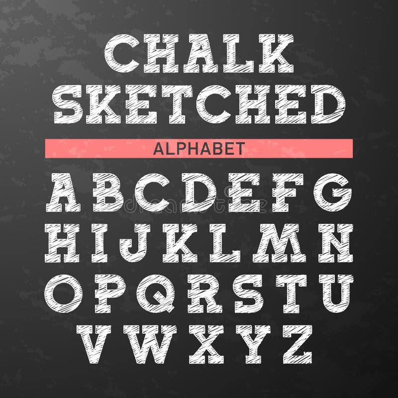 O giz esboçou a fonte, alfabeto ilustração stock