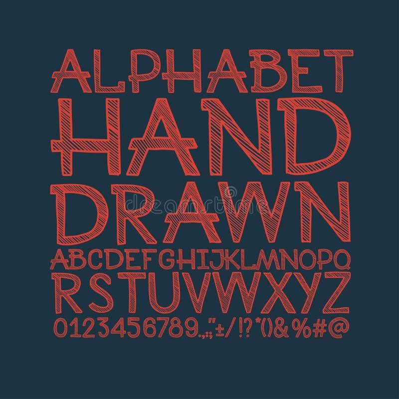 O giz esboçou fonte de vetor listrada do ABC do alfabeto ilustração do vetor