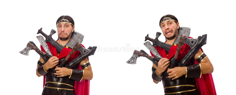 O gladiador com o armamento isolado no branco imagem de stock royalty free