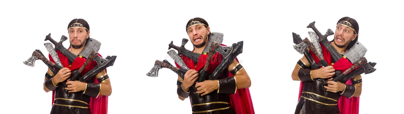 O gladiador com o armamento isolado no branco foto de stock