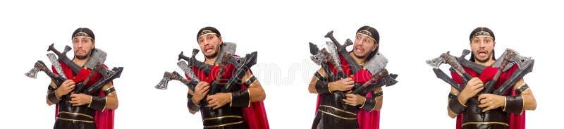 O gladiador com o armamento isolado no branco imagens de stock