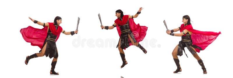 O gladiador com a espada isolada no branco foto de stock